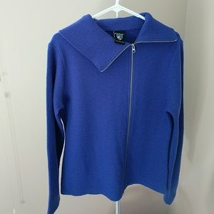 Kuhl Blue Asymmetrical Zipper Merino Sweater Sz L